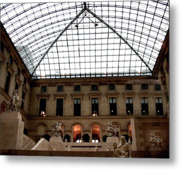 Paris - Louvre Museum Pyramid - Louvre Sky Pyramid Sculpture Statues Metal Print