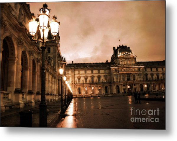 Paris Louvre Museum Sepia Night Lights Street Lamps - Paris Sepia Louvre Museum Night Photography Metal Print