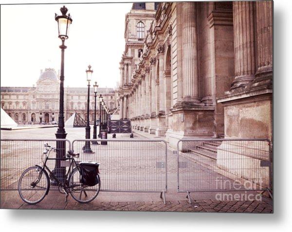 Paris Louvre Museum Street Lamps Bicycle Street Photo - Paris Romantic Louvre Architecture  Metal Print