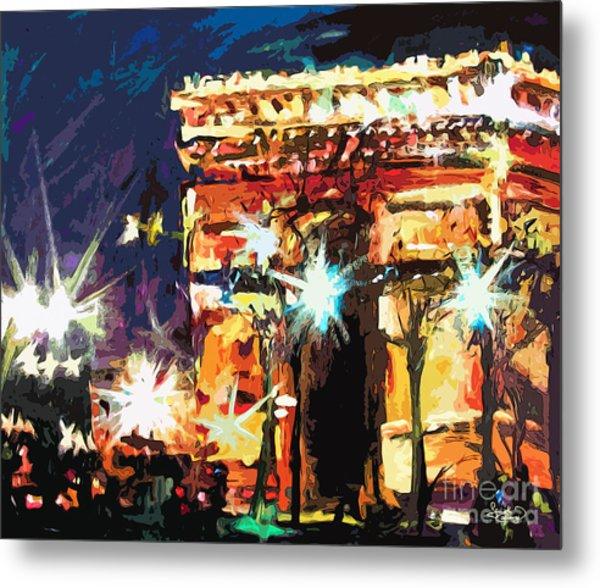 Paris Nights Arc De Triomphe Metal Print