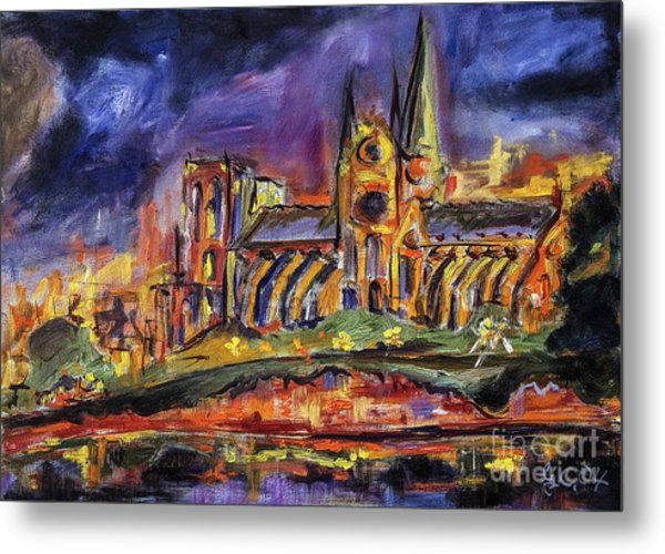 Paris Notre Dame Oil Sketch Metal Print