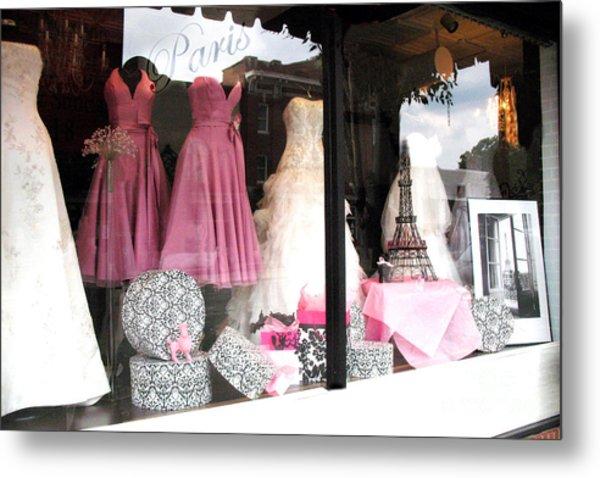 Paris Pink White Bridal Dress Shop Window Paris Decor Metal Print