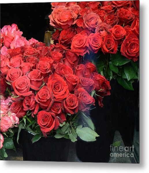 Paris Red French Market Roses - Paris French Flower Market Red Roses  Metal Print by Kathy Fornal