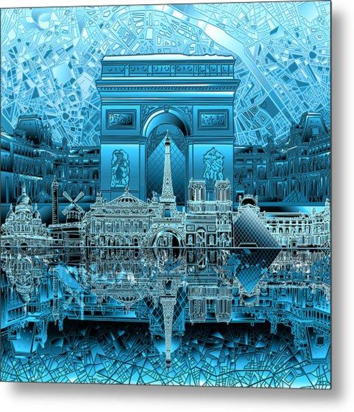 Paris Skyline Landmarks 3 Metal Print