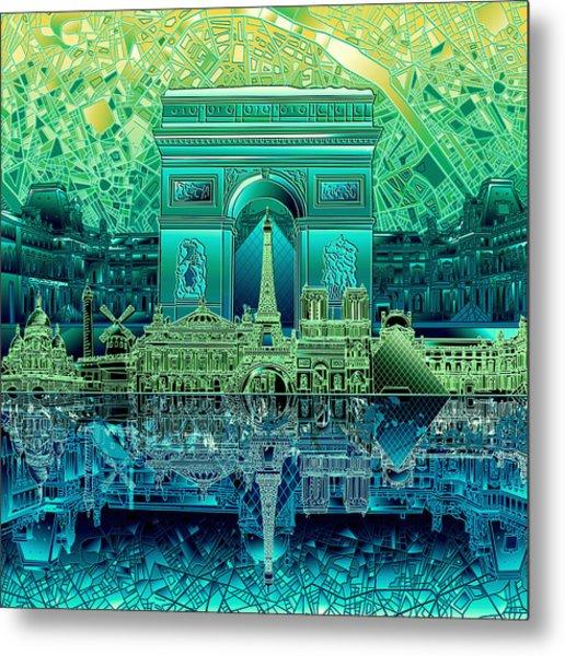 Paris Skyline Landmarks 6 Metal Print