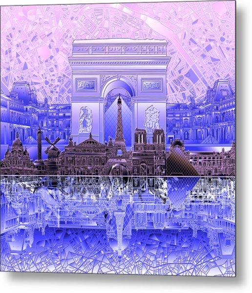 Paris Skyline Landmarks 7 Metal Print