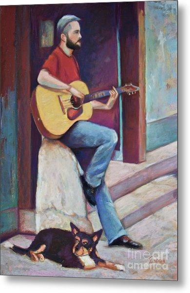 Paris Street Musician And Dog Metal Print by Joyce A Guariglia