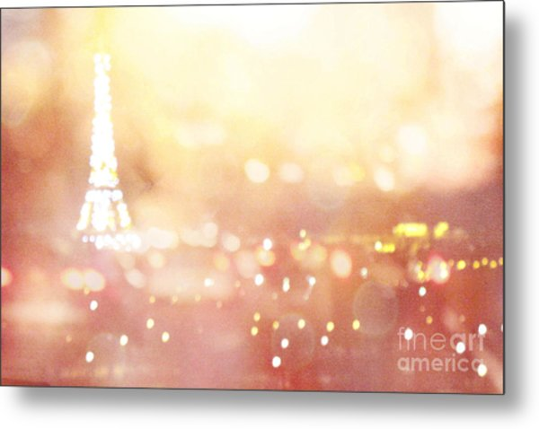Paris Surreal Dreamy Eiffel Tower Night Lights - Paris Fantasy Eiffel Tower Abstract Bokeh Night Art Metal Print