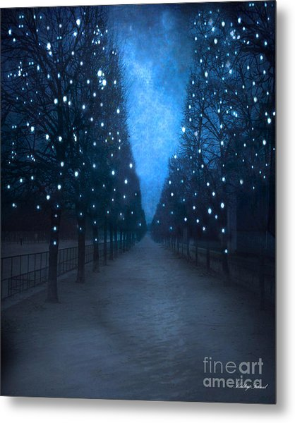 Paris Tuileries Trees - Blue Surreal Fantasy Sparkling Trees - Paris Tuileries Park Metal Print