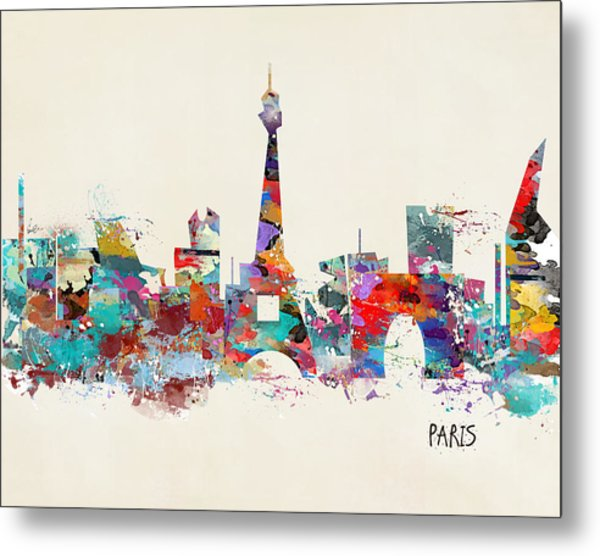 Paris Watercolor Skyline Metal Print