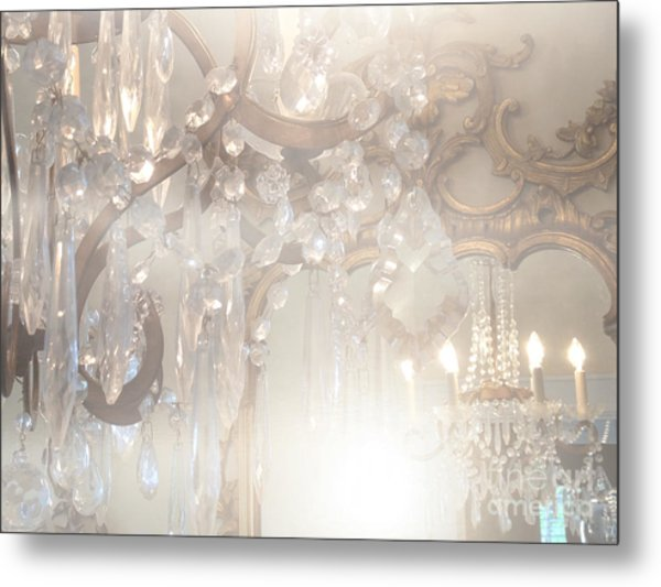 Paris Dreamy White Gold Ghostly Crystal Chandelier Mirrored Reflection - Paris Crystal Chandeliers Metal Print