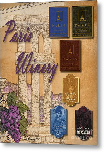 Paris Winery Labels Metal Print