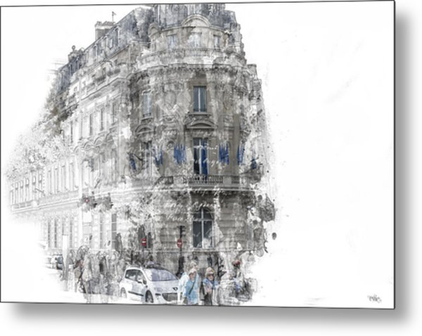 Paris With Flags Metal Print
