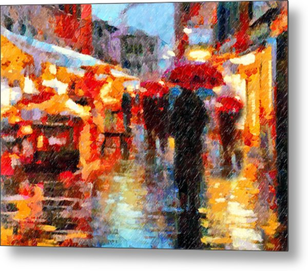 Parisian Rain Walk Abstract Realism Metal Print