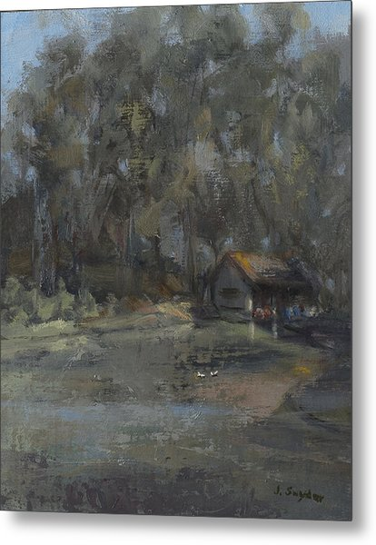 Park Pond And Boat House Metal Print