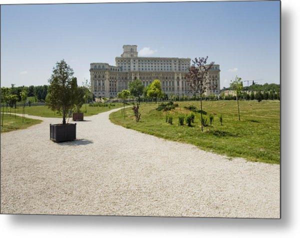 Parliament At Summer Bucharest Metal Print by Ioan Panaite