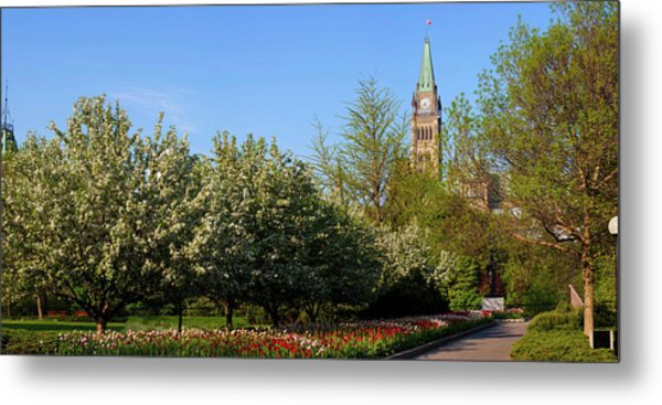 Parliament Building Seen From A Garden Metal Print