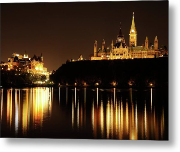 Parliament Hill And The Chateau Laurier Metal Print