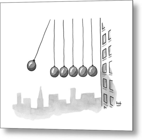 Parody Of Newton's Cradle. Six Wrecking Balls Metal Print