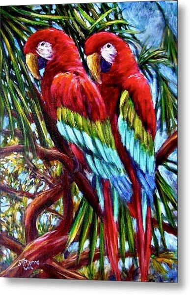 Parrot Pals Metal Print by Sebastian Pierre