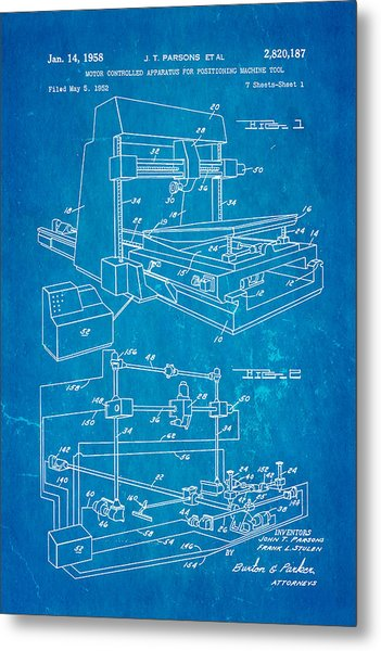 Parsons Numeric Machine Control Patent Art 1958 Blueprint Metal Print