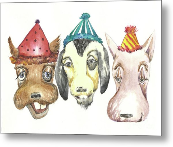 Party Dogs Metal Print