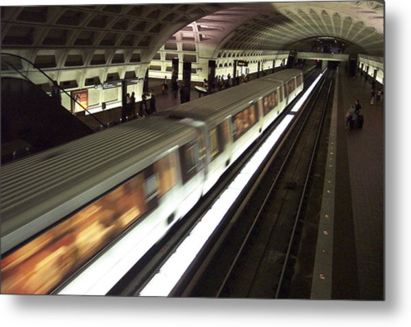 Passing Metro Train Metal Print