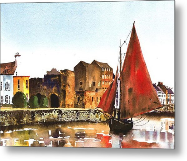 Passing The Spanish Arch Galway Metal Print