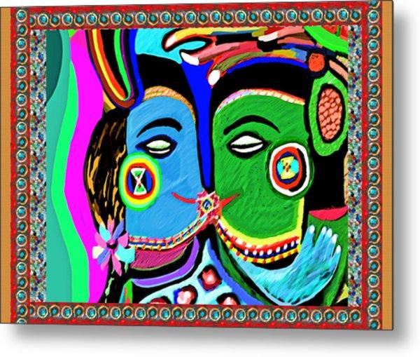 Passionate Kiss Kamasutra Khajuraho India Cave Style Art Navinjoshi Rights Managed Images Graphic De Metal Print