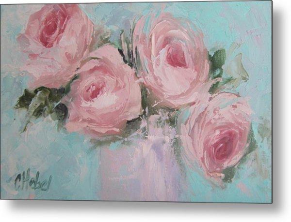 Pastel Pink Roses Painting Metal Print