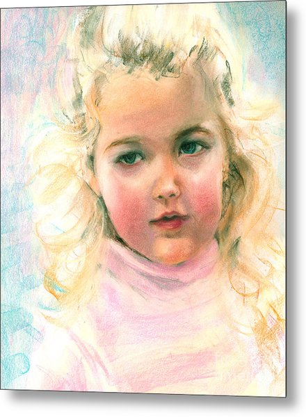 Pastel Portrait Of An Angelic Girl Metal Print