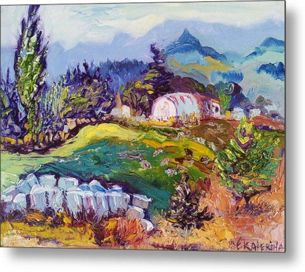 Pastures Landscape Oil Painting Metal Print