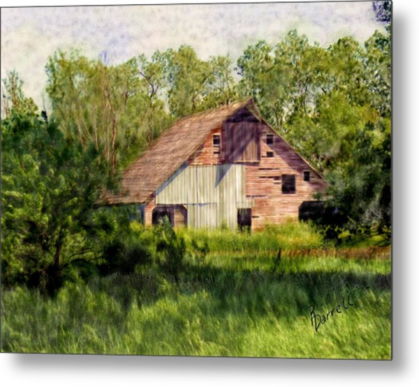 Patchwork Barn Metal Print