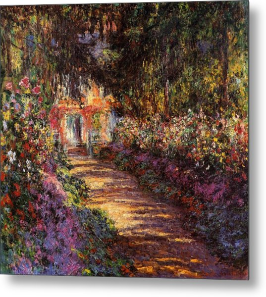 Pathway In Monets Garden In Giverny Metal Print