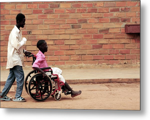 Patients Outside A Hospital Metal Print