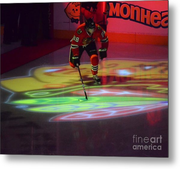 Patrick Kane Takes The Ice Metal Print