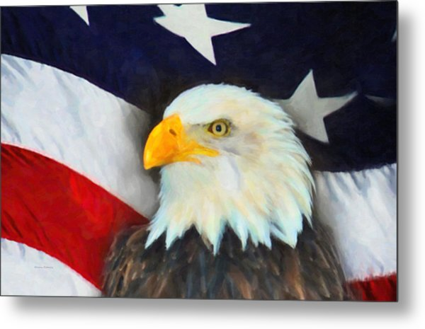 Patriotic American Flag And Eagle Metal Print