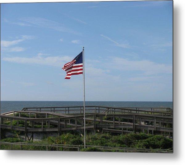 Patriotic Beach View Metal Print