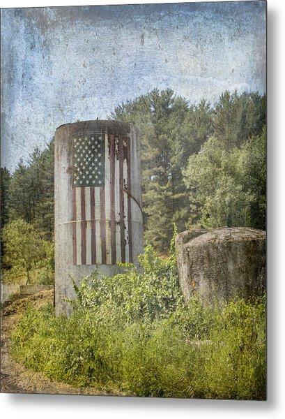 Patriotic Farm Silo Metal Print