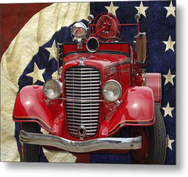 Patriotic Fire Truck Metal Print