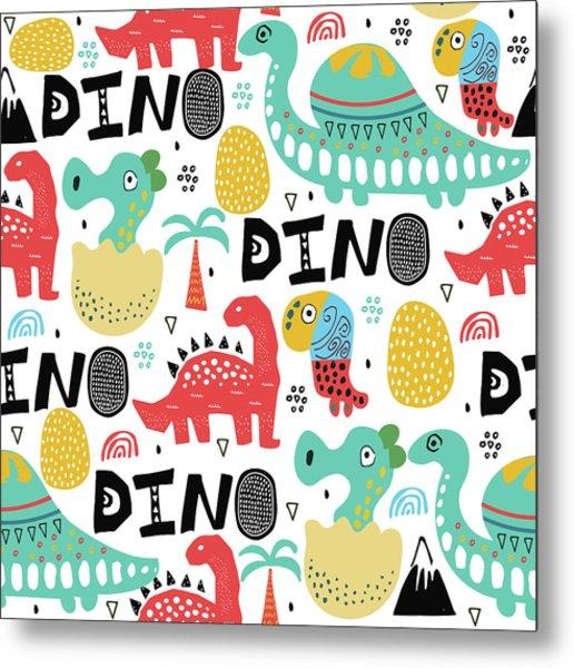 Pattern With Dino,dinosaur With Palms Metal Print