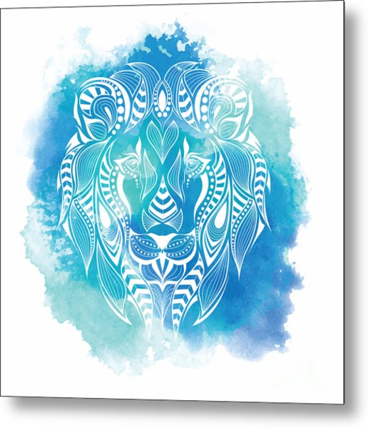 Patterned Colored Head Of The Lion Metal Print