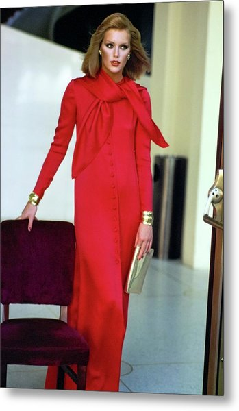 Patti Hansen Wearing A Red Dress Metal Print