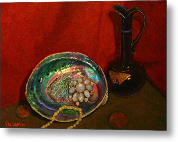 Paua And Butterfly Vase Metal Print by Terry Perham