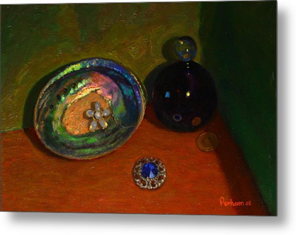 Paua With Scent Bottle. Metal Print by Terry Perham