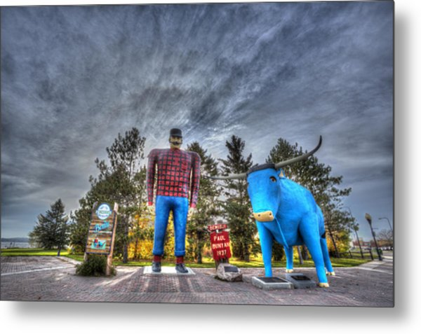 Paul Bunyan And Babe The Blue Ox In Bemidji Metal Print