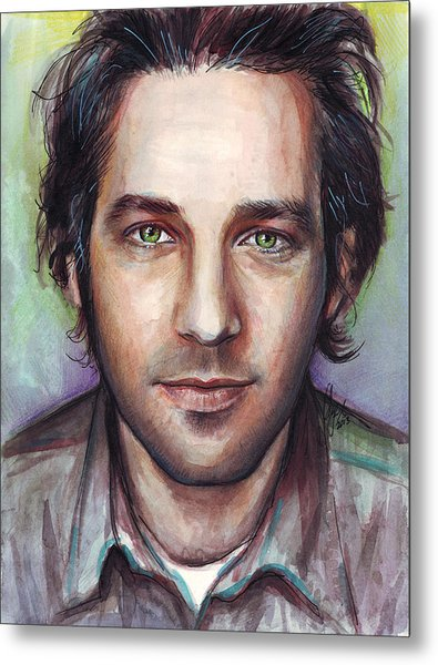 Paul Rudd Portrait Metal Print