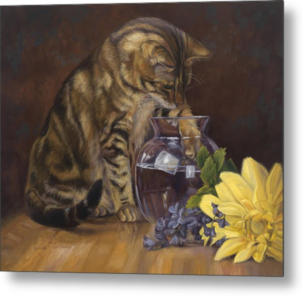 Paw In The Vase Metal Print