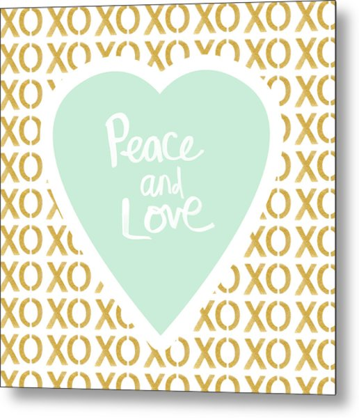 Peace And Love In Aqua And Gold Metal Print