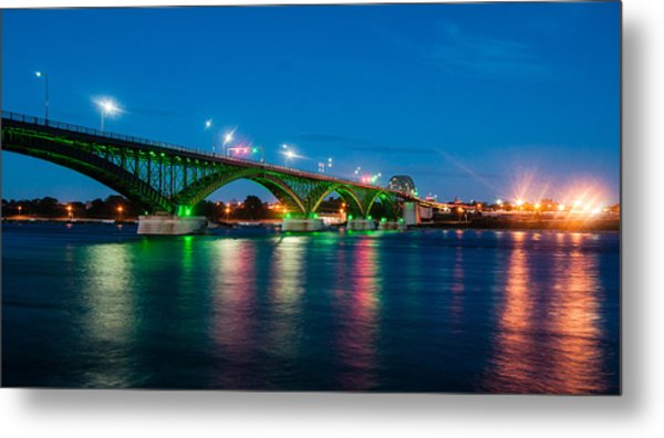 Peace Bridge And Buffalo Lights Metal Print